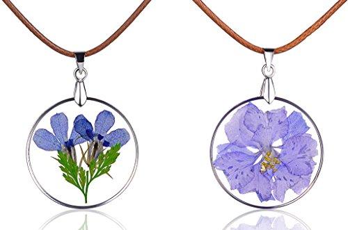 Yumi Lok Lila, azules seca Flores Transparente Redondo Colgante Collar Aleación Resina kettenänhanger Cordón Cadena para Mujer Chica, 2unidades