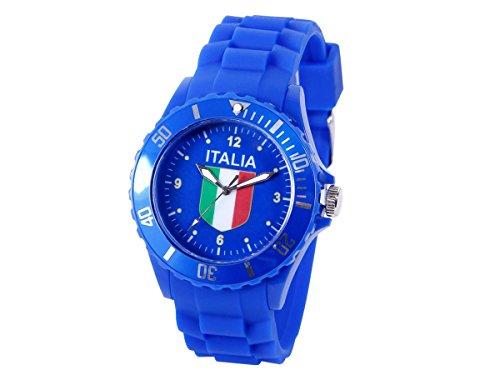 Alsino Armbanduhr EM WM Länder Silikon Uhr Silikon Damen Herren Silikon Uhren Herrenuhr Damenuhr, Farbe wählen:UR-ITA Italien