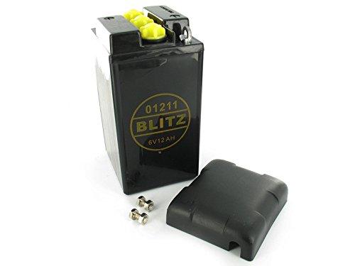 Preisvergleich Produktbild Blitz Batterie 6V 12Ah BLITZ (ohne Säure) mit Deckel - Simson AWO, MZ, EMW