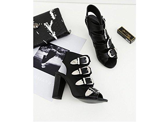 KHSKX-Femme Noire Épaisse 7.5Cm Sandales À Talons L'Été La Boucle De Ceinture Correspondent Tous Dans Des Sandales Thirty-five