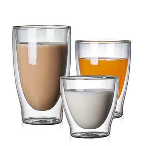 htglas Kaffeetasse Kaffeetasse Starkes Borosilikat-hitzebeständiges Glas Cafe Drinkware Kaltes Getränk,klar,250 ml ()