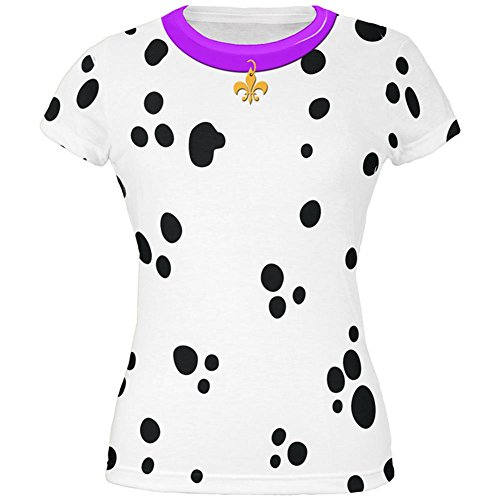 Faschingsdienstag Hund Dalmatiner Kostüm lila Halsband Fleur De Lis aller Junioren T Shirt Multi MD (Dalmatiner Kostüm Für Damen)