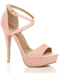 004d064d9d0d Womens Ladies Platform high Heel peep Toe Cross Over Strappy Sandals Shoes  Size