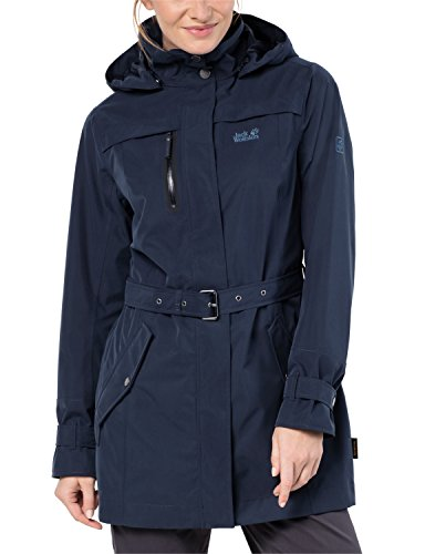 Jack Wolfskin Damen Kimberley Coat Atmungsaktiv Wasserdicht Winddicht Outdoor Funktionsmantel Trenchcoat Mantel, Midnight Blue, L