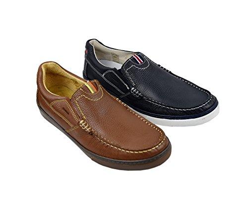Zerimar Chaussures Bateau en Cuir Pour Homme Grande Taille Chaussures Pour Homme Bleu Marine