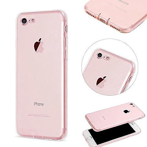MOMDAD Transparent Coque iPhone 7 TPU Étui iPhone 7 Souple Silicone Coque Protection Bumper Housse Clair Doux Silicone Gel Ultra Mince Case Cover pour iPhone 7 4.7 Pouces Coque-Rose