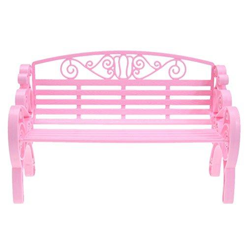 vanpower 1 Stück Mini Gartenbank Kunststoff Park Stuhl Miniatur Puppenhaus Möbel Zubehör für Terrasse Dekor Spielzeug, Rosa