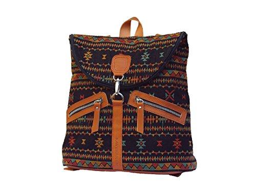 Rucksack bestickte Leinen und Leder. Ethnischer Rucksack aus organischen Materialien.