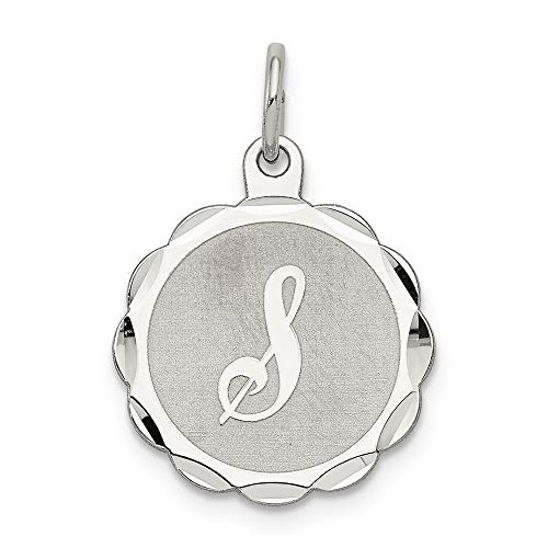 Sterling Silber Brokat Initiale S Jacquardstoff Charme - Brokat-armband