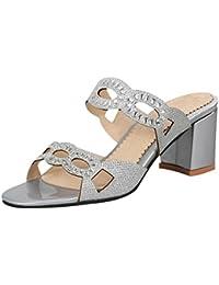 UH Damen Glitzer Pantoletten mit Blockabsatz Peeptoe Mules Modisch Sommer Schuhe