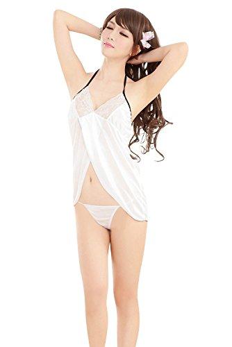 Shangrui Femminile Halter Biancheria da Notte Lace Backless Pigiama un Fresco Trasparente Accappatoio W384 Bianco