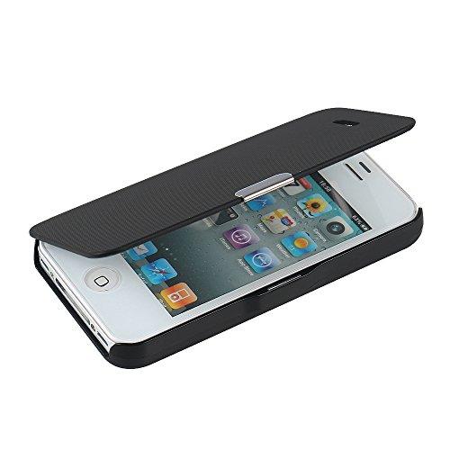 Mtronx cover iphone 4s, cover iphone 4, custodia case ultra foglio flip pelle libro spigato magnetic closure paraurti per apple iphone 4s, iphone 4 - nero(mg-bk)