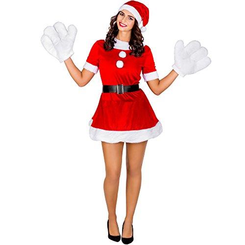 TecTake dressforfun Damenkostüm sexy Weihnachtselfe | kurzes Kleid mit aufgenähten Schneebällen | inkl. Zipfelmütze und Handschuhen (L | Nr. 300456) (Zombie Santa Claus Kostüm)