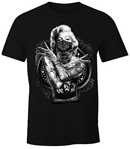 Herren T-Shirt Marilyn Monroe Gangster Outtlaw Tattoo MoonWorks® schwarz ()