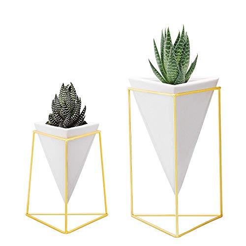 nellam modernen Geometrische Vasen-Set 2, 1x groß, 1x klein, weiß Keramik Porzellan Stil Körbe, mit dekorativen Messing Draht Frames Accents blau, türkis, und Gelb Blumen (Große Keramik Vasen)