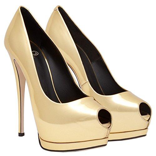 ENMAYER Femmes en Cuir Verni Plateforme Peep Toe Stiletto Haut Talon Robe de Soirée de Mariage Pumps Court Shoes D'or