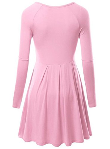 Robe Pull Chemise Blouse Tops Col Rond Manches Longues Rose Clair