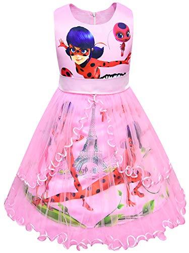 Cat Kostüm Einhorn - FStory&Winyee Miraculous Ladybug Mädchen Prinzessin Kleid Festlich Fasching Kostüm Sommerkleid Kinder Kleider Partei Ärmellos Hochzeit Partykleid Geburtstagsparty Karneval Verkleidung Lila Rosa Blau