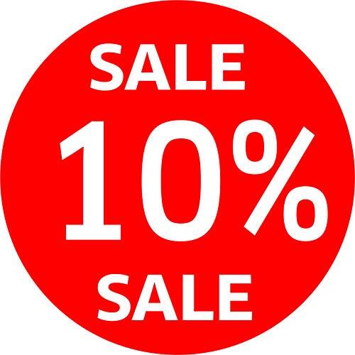 Aufkleber 10% SALE% Schaufenster Rabatt Ausverkauf Schlussverkauf Raus SSV WSV Prozent (30 cm Durchmesser)