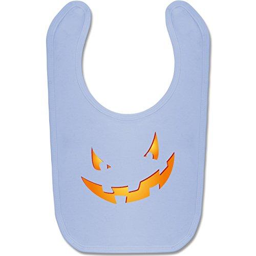 Shirtracer Anlässe Baby - Kürbisgesicht klein Pumpkin - Unisize - Babyblau - BZ12 - Baby Lätzchen Baumwolle
