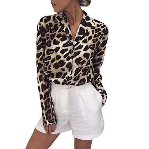 IMJONO Tops T Shirt Bluse Mode Frauen Langarm Leopard Print Button Umlegekragen Bluse Shirt(Large,Khaki)