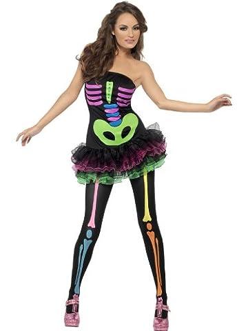 Meilleurs Costumes Squelette - Smiffys - Costume Squelette Fluo Robe A