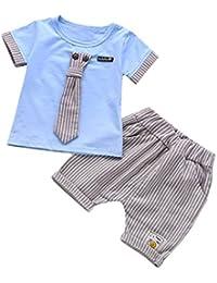 QinMM 2 Pcs enfant Bébé Garçons Cravate Tie T-Shirt Tops + Rayures Shorts, Tenues Ensemble de Vêtements Bouton Pantalon Mode Costume Outfit