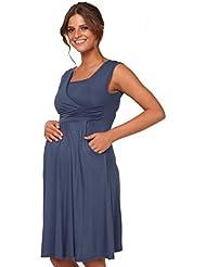 Happy Mama Femme. Robe patineuse maternité d'allaitement. Sans manches. 500p