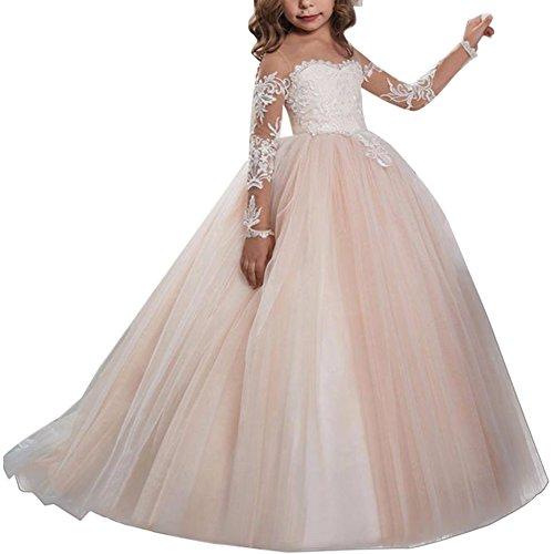 hen Kleid Hochzeit mit Appliques Pailletten Spitze Tüll Festzug Abendkleid Brautjungfer Hochzeitskleid Erste Kommunikation Kleider Partyskleid Karneval Festzug Cocktailkleid (Kinder Rosa Kleid)