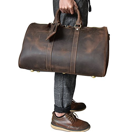 Herren Echtleder Reisetasche Große Kuh Leder Weekend Bag Overnight Messenger (Brown2)