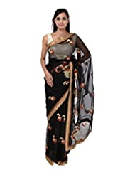 A1 Fashion Women Net Black Saree With Blouse Piece