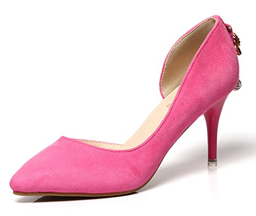 Aisun Damen Elegant Spitz Zehen Kristall Anhänger D-Orsay Stiletto High Heels Pumps Rosarot