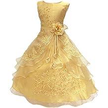 Little/Big Girls Flower Girl de cuentas bordado vestido de fiesta de cumpleaños con Petticoat