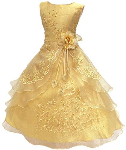 Poco/grandes niñas bordado con cuentas flores niña fiesta de cumpleaños vestido con enaguas - Dorado -