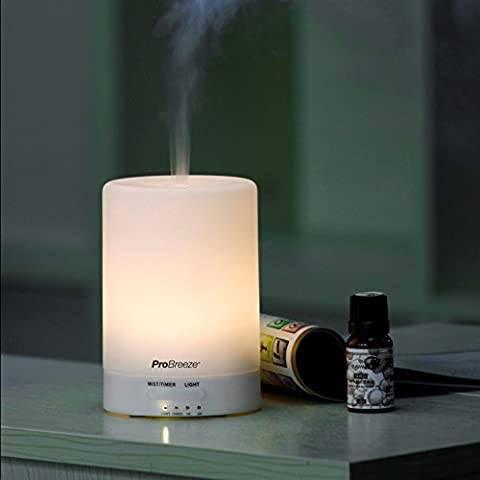Pro Breeze® Ultrasonic Aroma Diffuser and Humidifier with 7 Colour Changing LED Lights. Aromatherapy Mist for Home, Office and