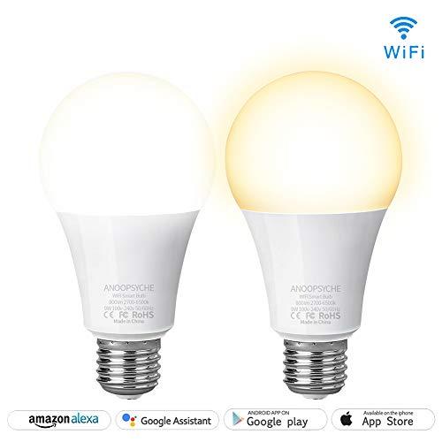 ANOOPSYCHE Smart WLAN LED Lampe, Dimmbar Warmweiß bis Tageslicht(2700K-6500K), Smart Birne E27 800LM, Smart GlühBirnen Steuerbar via APP Kompatibel mit Amazon Alexa und Google home