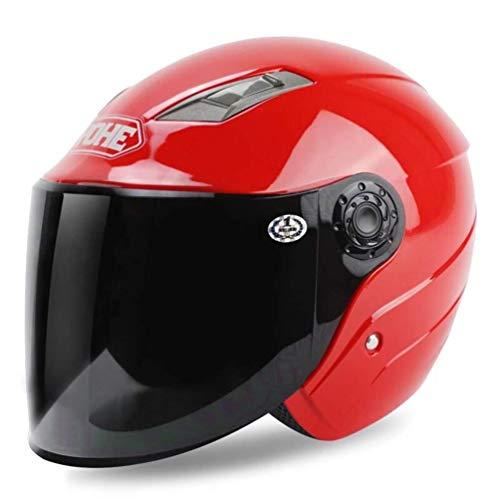 BHJqsy Schutzhelm Helm ▏ Motorradhelm ▏ Elektrofahrzeug Männer und Frauen halber Helm ▏ Sommerhelm Sonnencreme Doppellinse Effizienter Schutz des Kopfes (Farbe : Red, größe : XXL)