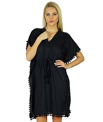 Bimba les femmes imprimé caftan polyester avec dos élastique floral haut caftan imprimée Noir