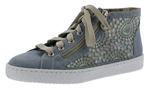 Rieker L4812 Damen Kurzstiefel, Stiefel, Boots, Stiefelette mit Spitzenbesatz blau (Blue/Grey / 12), EU 42