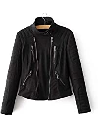 548b92c5af LLDE Damen Leder Jacke Frauen Stylisch Bomberjacke Herbst Winddicht  Fliegerjacke Volltonfarbe Coat Casual…