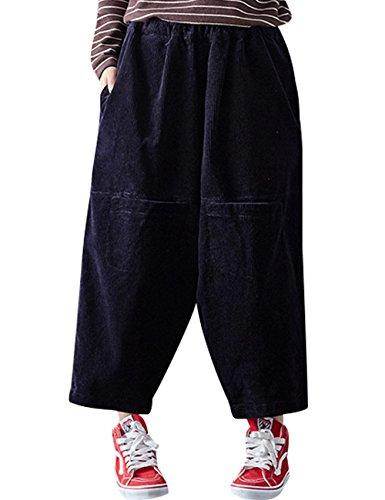 Youlee Donna Tasche anteriori Vita elastica cotone Corduroy Pantaloni Stile 2 Deep Blue
