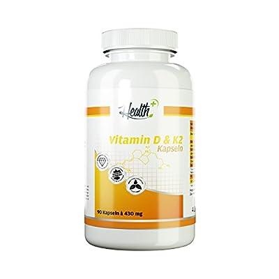 HEALTH+ VITAMIN D & K2 hochdosiert 90 Kapseln a 430 mg mit 5000 IE Vitamin D3 und 50 mcg Vitamin K2 Nahrungsergaenzung Wochendosis MADE IN GERMANY