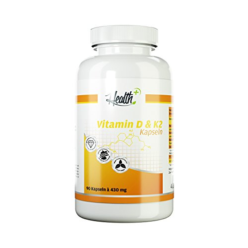 HEALTH+ VITAMIN D3 & K2   5000 IE Vitamin D3 und 50mcg Vitamin K2   für starken Knochenbau   90 Kapseln  Made in (Zähne Entgegen)