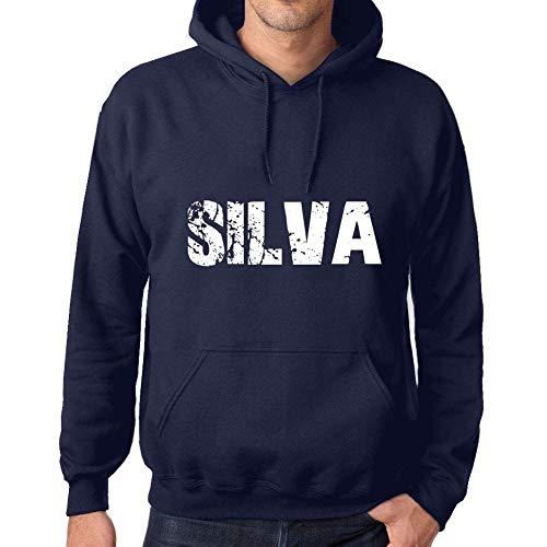 Ultrabasic Herren Damen Unisex Kapuzenpullover mit Grafik-Print Hoodie Popular Words SILVA Französisch Marine -