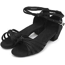 Silencio @ Kids 'zapatos de baile Latina/Salsa/Flamenco/Samba satinado/sintético tacón bajo negro/rojo/plata/oro/multicolor, rojo, US3.5 / EU35 / UK2.5 Big Kids