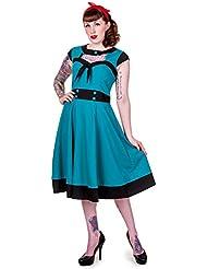 Prohibido vestido 1950 retro azul