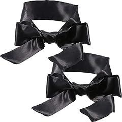 Idea Regalo - 2 Pezzi Maschera di Seta per Occhio Mascherina di Raso Cravatta Bende Nera, 150 cm