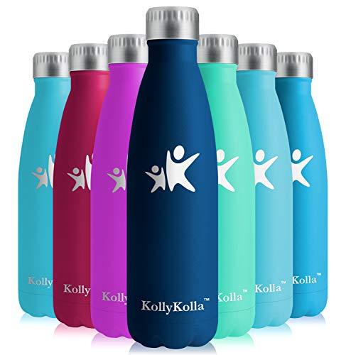 KollyKolla Vakuum Isolierte Edelstahl Trinkflasche, 650ml BPA Frei Wasserflasche Auslaufsicher, Thermosflasche für Sport, Outdoor, Fitness, Kinder, Schule, Kleinkinder, Kindergarten (Dunkelblau)