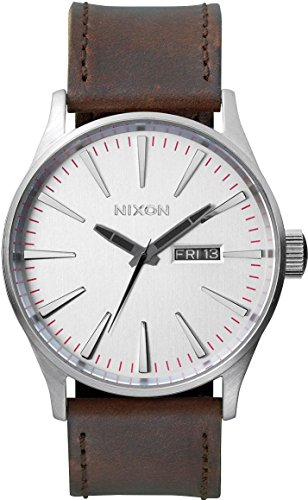 Nixon Herren-Armbanduhr XL Sentry Leather Analog Quarz Leder A1051113-00 (Nixon Uhren Herren Sentry)