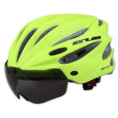 Fahrradhelm,Fahrradhelm mit Abnehmbarer Schutzbrille Visor Shield für Männer Frauen Mountain & Road Fahrradhelm Einstellbarer Sicherheitsschutz Skateboarding Ski & Snowboard - Grün Frauen-ski-schutzbrillen
